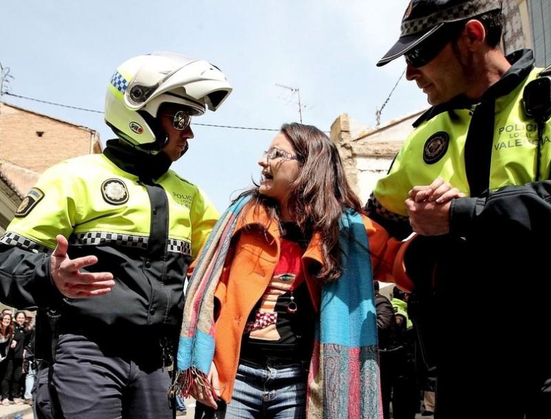 Mónica Oltra el dia dels avalots al Cabanyal. Foto:JOSÉ CUÉLLAR